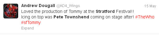 Tweet from Andrew Dougall About Townsend's Appearance