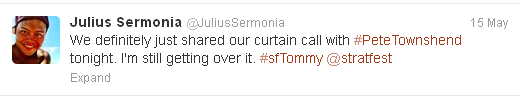 Tweet from Julius Sermonia, Tommy Ensemble Member