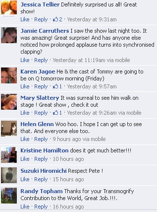 Facebook Comments on Townsend's Appearance