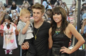 Justin Bieber, Carly Rae Jepsen, and Bieber's Brother Jaxon at the 2012 MMVAs,taken by Mike Cassese