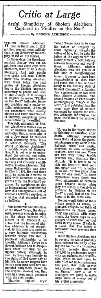 "Brooks Atkinson on ""Fiddler on the Roof"", as seen in ""The New York Times"" on October 6th, 1964"