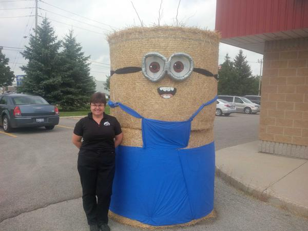 #pcstrawtour , hay bale minion ,  Straw Sculpture Tour
