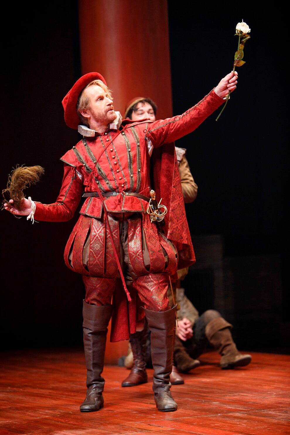 Costume cut by Jennifer Wonnacott, worn by Tom Rooney as Tranio in The Taming of the Shrew (Stratford Festival, 2015). Photo: David Hou