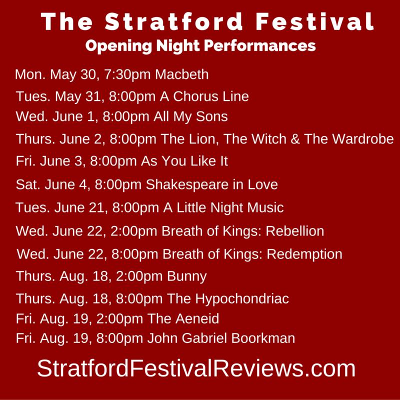 Stratford Festival, opening night, 2016