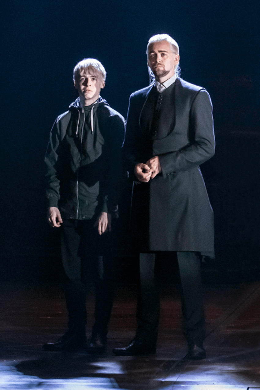 "Anthony Boyle as Scorpius Malfoy and Alex Price as Draco Malfoy Foggy in ""Harry Potter and the Cursed Child"", reviews"