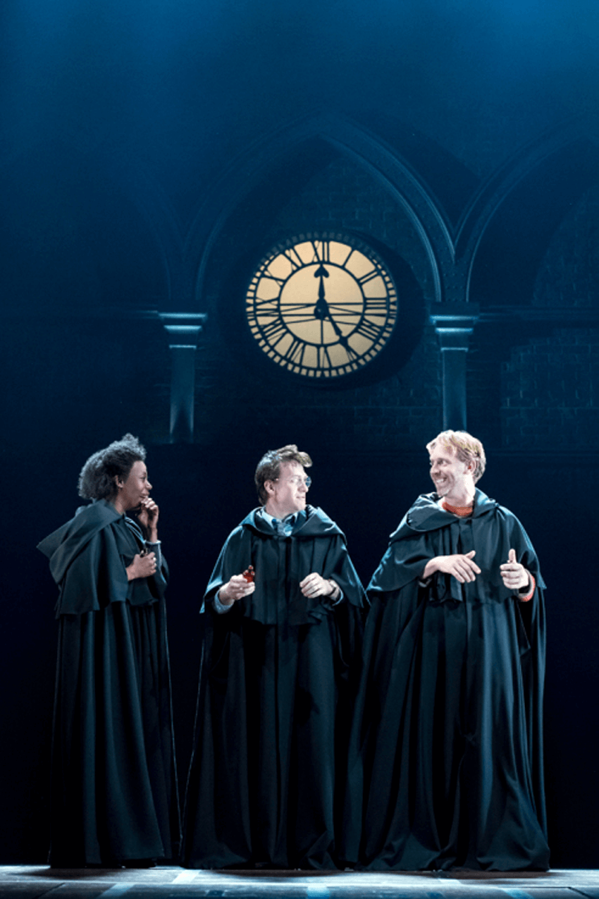 Noma Dumezweni as Hermione Granger, Jamie Parker as Harry Potter and Paul Thornley as Ron Weasley