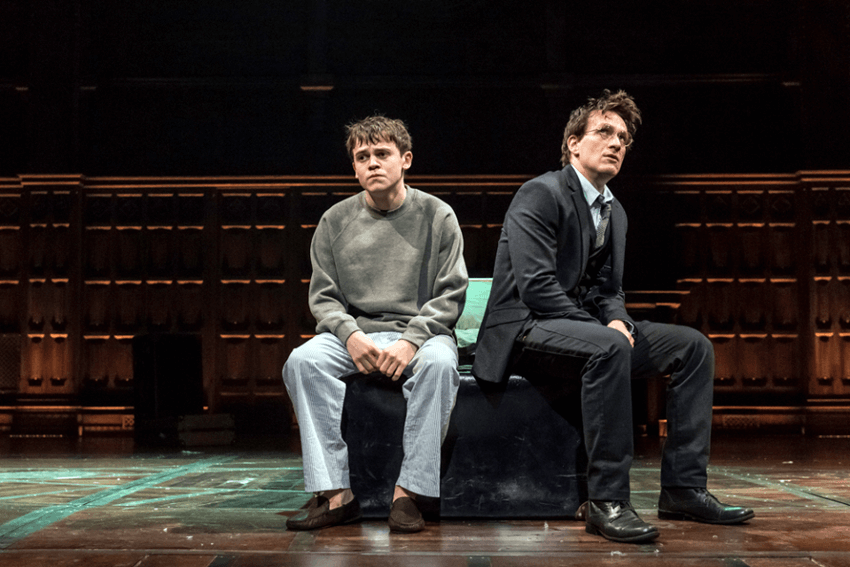 "Sam Clemmett as Albus Potter and Jamie Parker as Harry Potter, ""Harry Potter and the Cursed Child"", London's west end reviews"