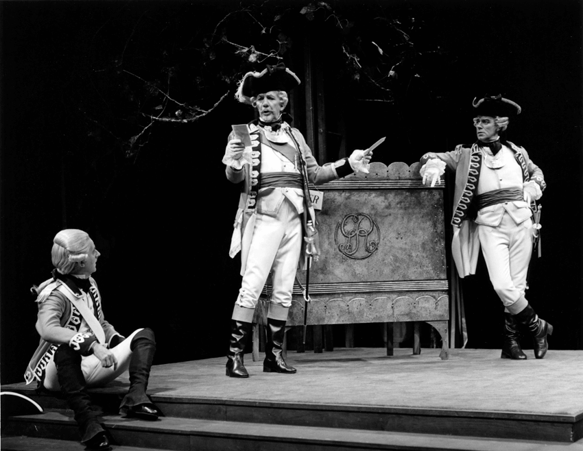Trumpets and Drums, 1975 Tom Kneebone as Sergeant Kite, William Hutt as Captain Brazen and Gordon Pinsent as Captain William Plume Photographer Robert C. Ragsdale, stratford festival legacy award 2016