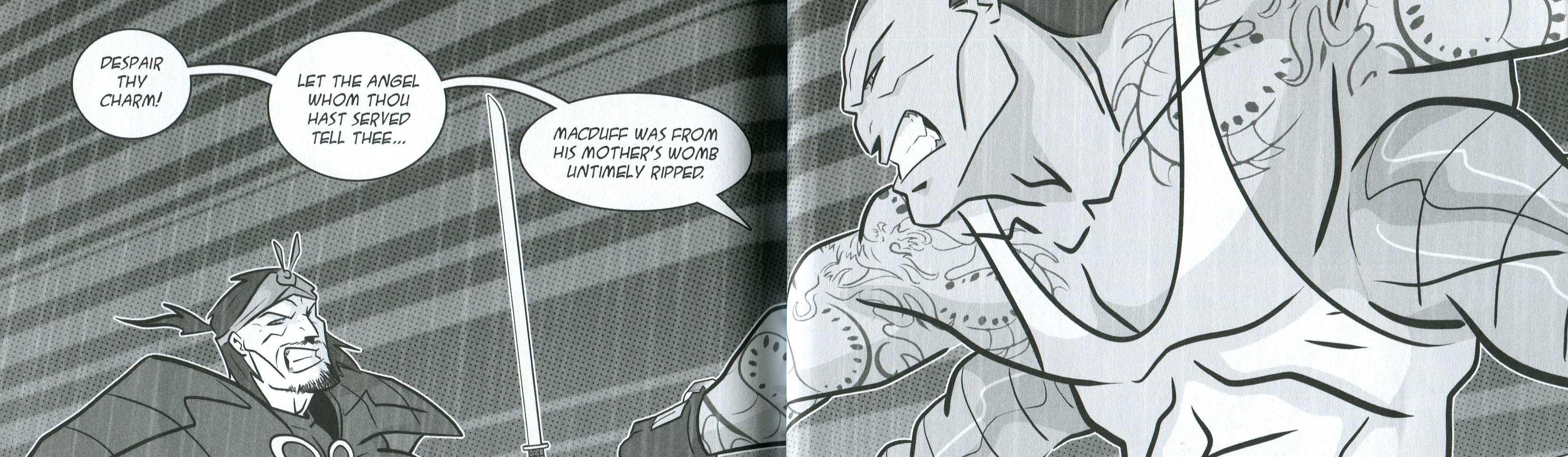 "A panel in the Manga Shakespeare version of ""Macbeth"". Macbeth and Macduff duel with katana blades."