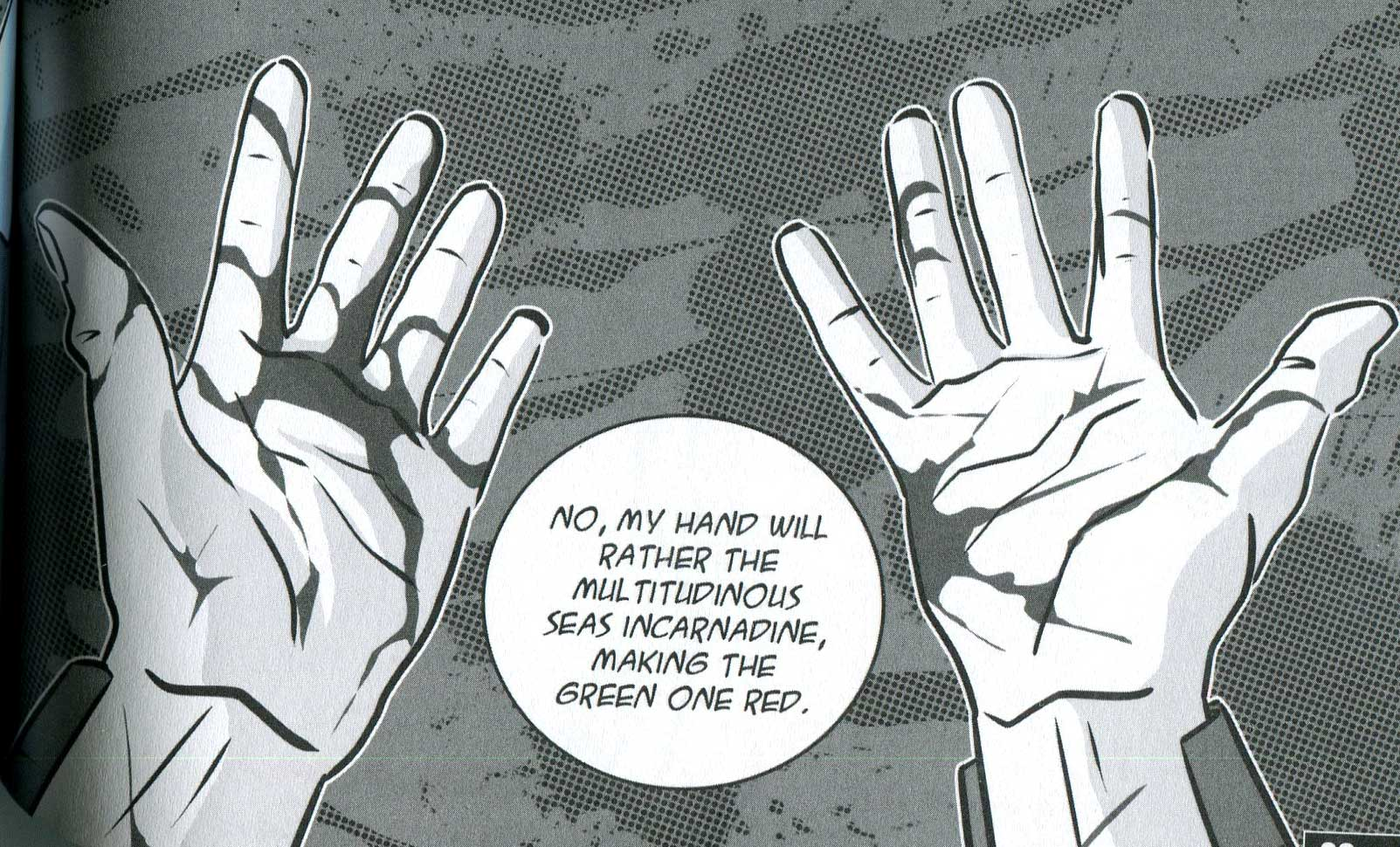 "A page in the Manga Shakespeare version of ""Macbeth"". A close up of Macbeth's bloody hands after he killed King Duncan."