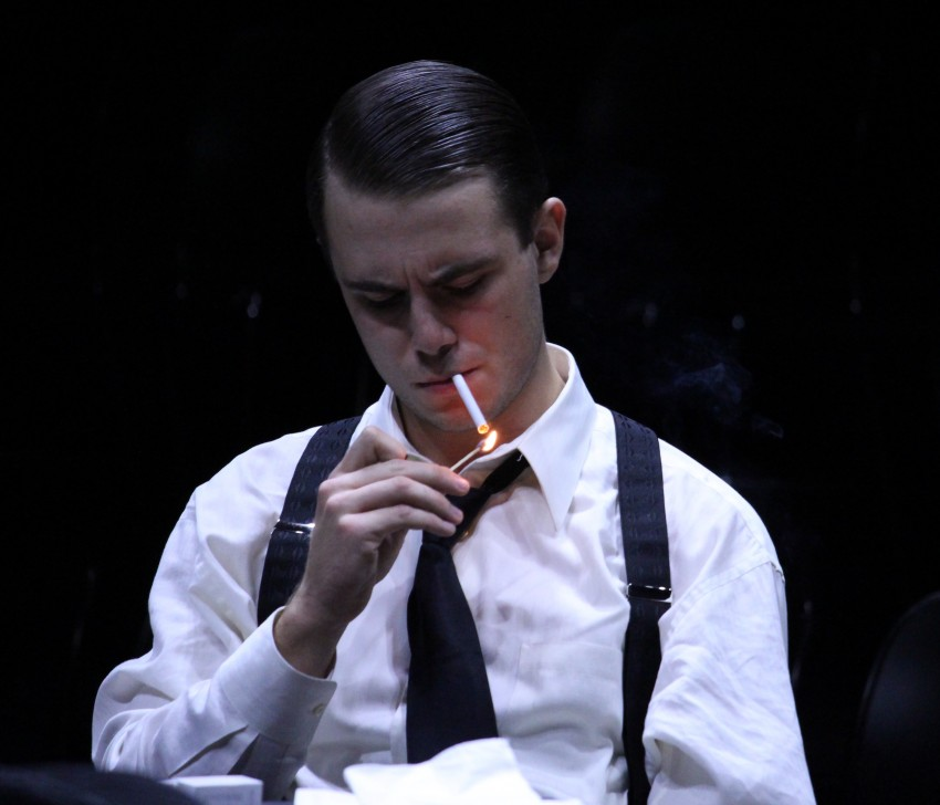 "Jack Copland as Juror #3 lighting a cigarette in Theatre Western's ""Twelve Angry Men"""