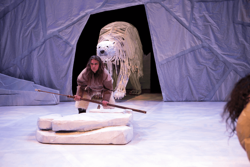 Gordon Patrick White as Higguk and Bruce Hunter as Angu'juaq., the breathing Hole, Stratford, puppets
