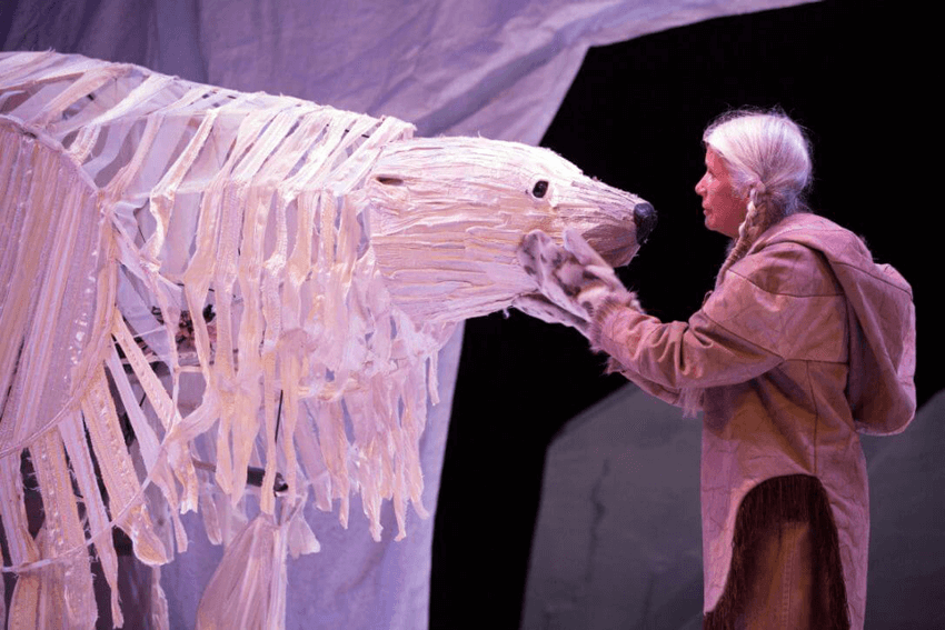 The breathing Hole, Stratford Festival, Bruce Hunter (left) as Angu'juaq and Jani Lauzon as Huumittuq