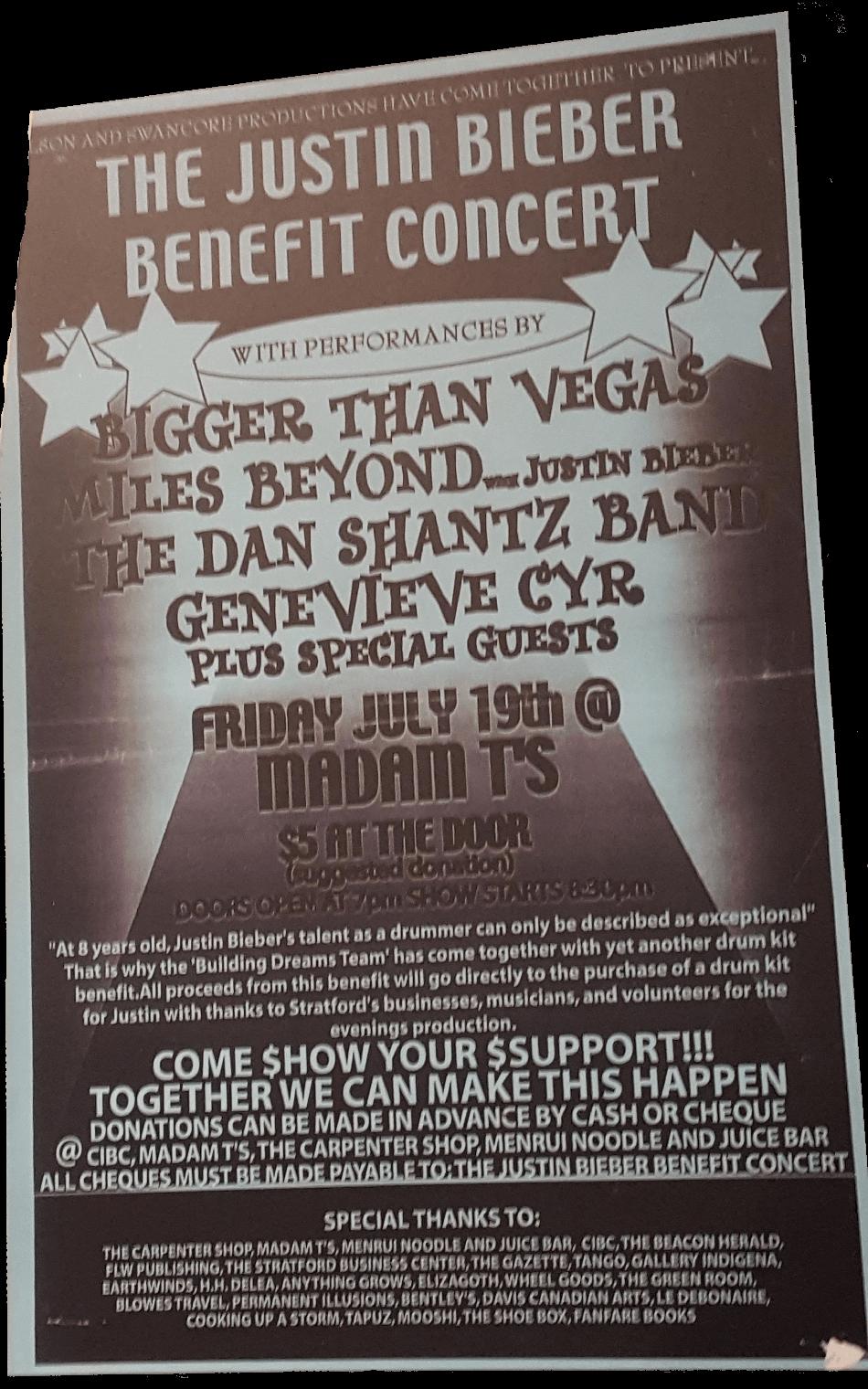 Justin-Bieber-Exhibit-museum-drum kit fundraisingPoster-stratford.