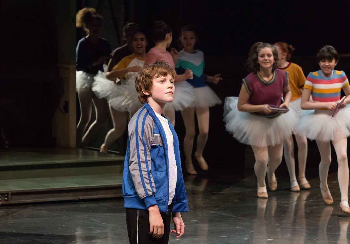 Nolen Dubuc, Billy Elliot with members of the company in Billy Elliot , stratford festival